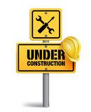 Under Construction Sign in White Backgroun Royalty Free Stock Images
