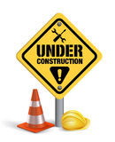 Under Construction Sign in White Backgroun. D. 3D Mesh Vector illustration Royalty Free Stock Photos