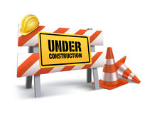 Under Construction Sign in White Backgroun. D. 3D Mesh Vector illustration Stock Photo