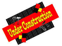 Under Construction Sign. On white background.  Black, red, and yellow design with tools. Transparent PNG file is available Stock Photos