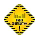Under construction sign on white background. Vector illustration for website. Under construction rhombus with black and yellow str. Iped borders vector stock illustration