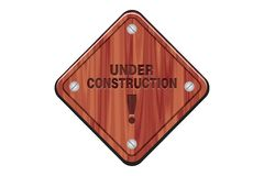 Under construction sign - wooden sign Royalty Free Stock Image
