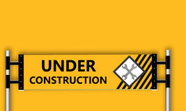 Under construction. Sign on yellow background Stock Photography