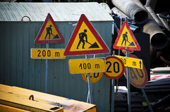 Under construction signs Stock Photo