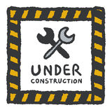 Under construction signs in cartoon style Royalty Free Stock Image