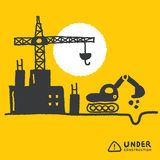Under construction signs in cartoon style Stock Image