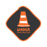 Under construction signs in cartoon style Stock Photography