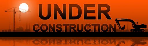 Under construction silhouetted. Stock Photo