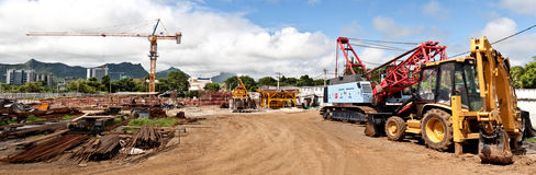 Under Construction Site. Panorama at Trianon in Mauritius Stock Photo