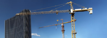 Free Under Construction Site Building With Crane And Glass Skyscraper Stock Images - 95412214