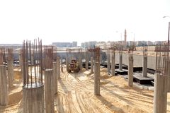Under construction site. With crane and building Royalty Free Stock Photos