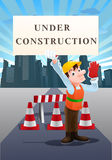 Under construction site. Illustration of an under construction worker hold sign on city background Stock Images
