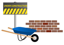 Under construction site with wheelbarrow and wall Royalty Free Stock Photos