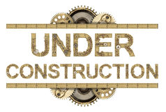 Under construction. Steampunk mechanical metal alphabet Stock Photography