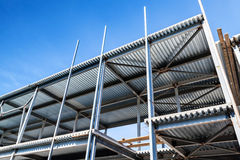 Under construction. Steel beams and decking. Modern industrial building is under construction. Steel beams and decking Royalty Free Stock Photo