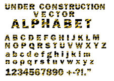 Under Construction Striped Pattern Style Vector Letters Alphabet Font Stock Image