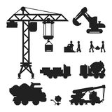 Under construction technic silhouette vector illustration Stock Photography