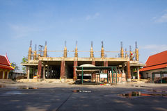 Under construction temple with blue sky background. Bangkok, Thailand royalty free stock photography