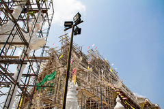 Under construction temple. With blue sky background, Bangkok, Thailand Stock Photo