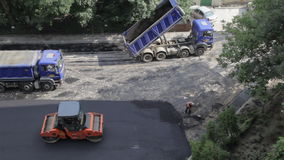 Under construction, time lapse asphalting. Under construction time lapse asphalting, video footage stock video