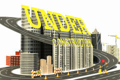 Under Construction Town. 3d image of road and building of under construction site Royalty Free Stock Photos