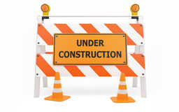 Under Construction traffic barricade Royalty Free Stock Images