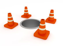 Under Construction Traffic Cone. Hole and Traffic Cone Hurdles for signaling the people in construction works. Be careful vector illustration
