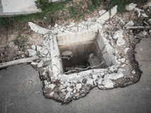 Under construction underground drain. Royalty Free Stock Images