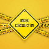 Under Construction Vector Background with Yellow Police Lice Stock Photo