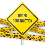 Under Construction Vector Road Sign Background with Yellow Polic Royalty Free Stock Photos