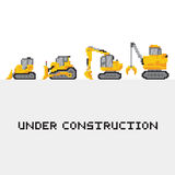 Under construction vehicles vector set in pixel Royalty Free Stock Images