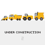 Under construction vehicles vector set in pixel royalty free illustration