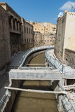 The under construction walkway along the canal through the medin Stock Photography