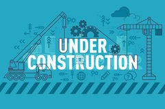 Under construction web page banner concept with thin line flat design Royalty Free Stock Photos