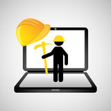Under construction web page worker pick axe Stock Photography