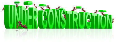 Under construction webpage or website building. Under construction website or webpage building ants constructing word isolated image work in progress or royalty free illustration