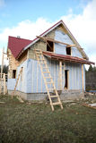 The under construction wooden house Royalty Free Stock Photography