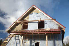 The under construction wooden house Royalty Free Stock Photo