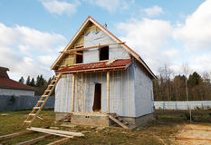 The under construction wooden house Stock Photography