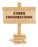 Under construction wooden tablet Stock Photography