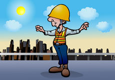 Under construction worker. Illustration of an under construction worker  on city background Stock Photos