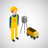 Under construction worker with dump truck. Vector illustration eps 10 Royalty Free Stock Photo