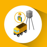 Under construction worker with dump truck. Vector illustration eps 10 Stock Photography