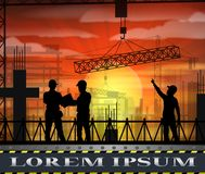 Under construction worker silhouette at sunset Stock Photo