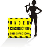 Under construction - working girl Royalty Free Stock Photography