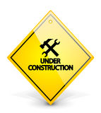 Under construction yellow sign Royalty Free Stock Photos