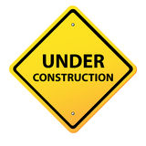 Under construction yellow sign Stock Photography