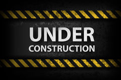 Under Construction with yellow stripes Royalty Free Stock Images