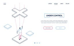 Under control - line design style isometric web banner. On white background with copy space for text. High quality website header with businessman being a royalty free illustration
