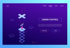 Under control - modern isometric vector website header. On purple background with copy space for text. High quality web banner with businessman being a stock illustration